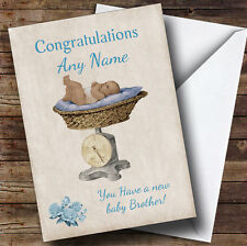 Pretty Vintage Blue Baby Boy Brother On Scales Personalised Sibling Card