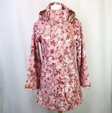 SOS Jensen Pink Beige White Floral Hooded Raincoat Waterproof Jacket Coat UK S