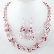 Fashion Purple Crystal Lampwork Glass Beads Necklace Earrings SET MM686