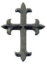 Iron On Applique Embroidered Patch Religious Fleur de lis Cross Charcoal Gray