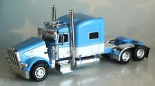 "DCP BABY BLUE WHITE PETERBILT 389 70"" MID ROOF SLEEPER TRUCK 1/64 34273 C"