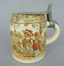 Sarreguemines Keramik Bierkrug mit Kinder Motiven, 1/2L,  um 1900