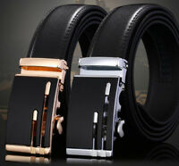 Men's Genuine Leather Automatic Buckle Belt Waist Strap Belt Waistband 110-140cm