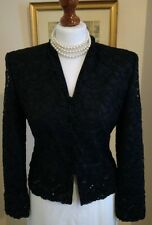 Authentic Christian Dior Vintage Black Lace Beaded Sequin Jacket FR34 UK6