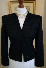 Authentique Christian Dior vintage dentelle noire orné de perles et sequins jacket FR34 UK6