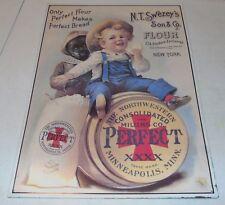 Vintage N.T. Swezey's Son and Co. FlourEmbossed Tin Metal SignBlack Americana