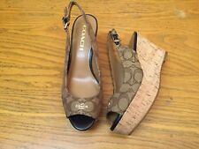 COACH FERRY JACQUARD PLATFORM WEDGE SLING BACK SHOES NEW SIZE 8