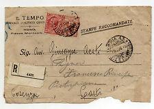 STORIA POSTALE 1918 REGNO C.2+10 SU STAMPE/RACCOMANDATA ROMA 19/7 Z/1681