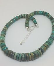 JAY KING MINE FINDS STERLING GENUINE BLUE / GREEN TURQUOISE DISC BEAD NECKLACE