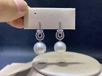 Huge Natural Aaa 8-9mm South Sea White  Pearl Earrings Silver