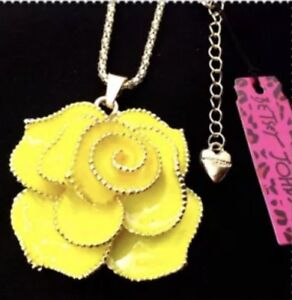 Betsey Johnson Necklace ROSE Yellow CLASSY Gold Crystals Enamel Gift Box / Bag