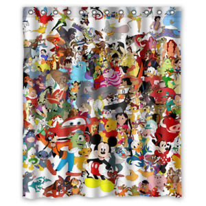 NEW Disney All Character Mash Up Custom Shower Curtain 100% Polyester