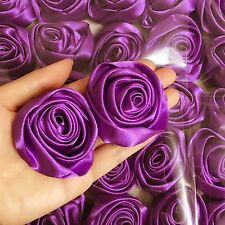 Lot 50pc Purple Satin Ribbon Rose Flowers Craft DIY Wedding Bouquet 50mm / 2""