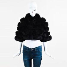 Emporio Armani Black Fox Fur Short Sleeve Cropped Jacket S/M
