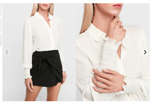 Express Smocked Cuff Shirt, Color: Ivory New!!!