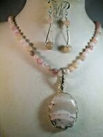 handcrafted 925 S/S Peruvain opal necklace,earrings peruvian opal pendant