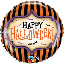 "HALLOWEEN PARTY SUPPLIES BALLOON 18"" HAPPY HALLOWEEN STRIPES QUALATEX BALLOON"