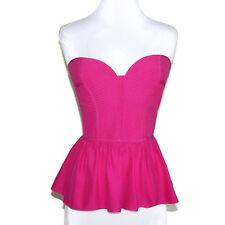 PARKER Hot Pink Silk Quilted Sweetheart Neckline Strapless Peplum Top sz Medium
