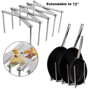 Kitchen Utensil Organizer Stainless Steel Pot Lid Plate Holder 4 Sectional Rack