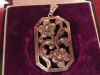 Hübscher 835 Silber Anhänger Jugendstil Art Deco Floral Blumen Meisterpunze J S