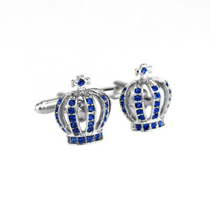 Blue Crystal Crown Silver Fashion Shirt Men Cuff Links Wedding Groom Gift