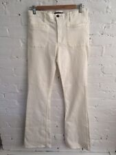 Theory Cotton Stretch Denim Boot Cut Flare Jeans White size 28 34 Inseam