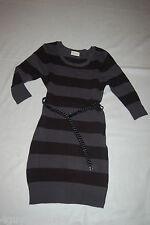 Womens Sweater Dress BLACK GRAY STRIPES Belt 3/4 Sleeves S 4-6