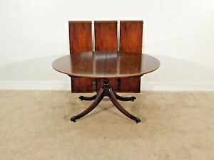 Antique Baker Furniture Co Pedestal Figued Mahogany Dining Table w 3 Leaves