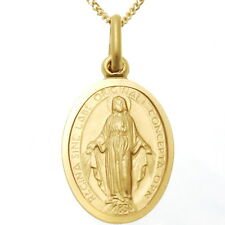 "9CT GOLD MIRACULOUS MARY MEDAL PENDANT NECKLACE WITH 18"" CHAIN - MADONNA MEDAL"