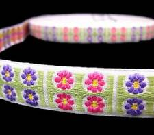 "2 Yds Vintage Purple Pink Daisy Flowers Woven Jacquard Trim Ribbon 5/8""W"