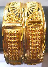 22K Gold Plated Indian Bracelet Bangle 2 Pcs Openable Free Size 2.6''