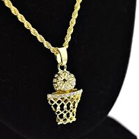 """Basketball Hoop Chain Micro Pendant Ball Charm Gold Finish 24"""" In Rope Necklace"""