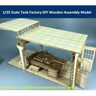 1/35 Scale Tank Factory Garage Repair Shop Scene DIY Wooden Assembly Model New