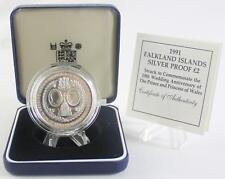 1991 Isole Falkland PROVA D'ARGENTO 2 POUND MONETA 10° MATRIMONIO ANNIVERSARIO