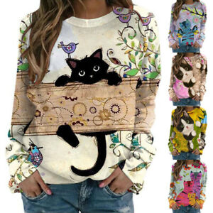 Womens Long Sleeve Casual 3D Cat Printed Tops Sweatshirts Hipster Loose Blouses