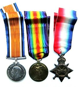WWI TRIO WAR MEDALS AWARDED TO S3- 030808. PTE. R. SMITH.  A.S.C