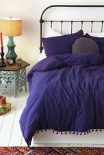 New Urban Outfitters Magical Thinking Pom-Fringe Duvet Cover Purple Full/Queen
