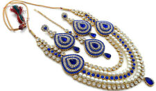 Fashion Necklace Jewelry Set 4 Pcs Blue Cz Pearl Gold Tone Indian Bollywood