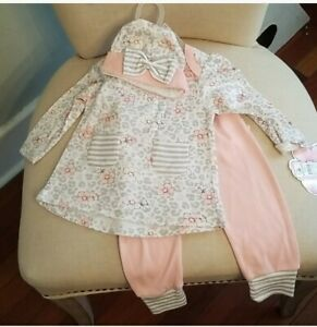 CJP Baby Adorable Girls Flower Stripe 3piece Outfit 3/6M NWT