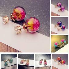 Women Lady Ear Stud Earrings Elegant Flower Rhinestone Glass Girl 7Color Party