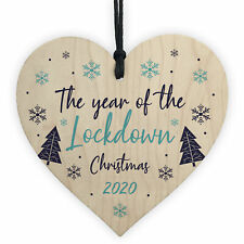 Lockdown Christmas Tree Decoration Wooden Heart Memory Plaque Family Gift