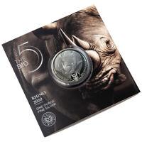 Silver Big Five 3. motif Rhino 1 oz BU 2020 Silbermünze 999 Nashorn im Blister