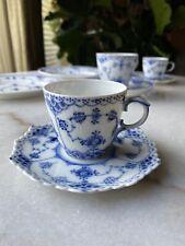 Royal Copenhagen Denmark Blue Fluted Full Lace Demitasse Cup & Saucer 1038 1st