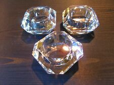 Vintage Crystal Glass Faceted Candle Holders Set Of 3 High Quality Prisms