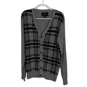MARC ECKO CUT & SEW Cardigan Plaid Cotton Gray Black Sz L