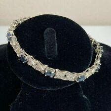 "Vintage 925 STERLING Silver Genuine SAPPHIRE X  Design Tennis Bracelet 7.25"""