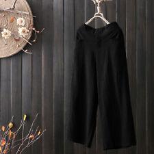 Fashion Women's Palazzo High Waist Wide Leg Culottes Cotton Linen Trousers Pants