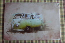 Retro VW Camper Van Metal Sign Painted Poster Garage Superhero Wall Decor Art F*
