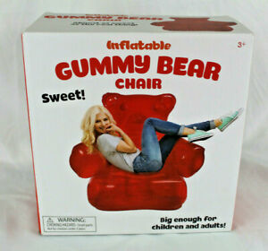 Inflatable Red Gummy Bear Chair - Ages 3 Up - Big Enough For Kids and Adults