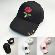 1c1f7827c30 Womens Mens Flower Rose Embroidered Baseball Cap Snapback Hip-Hop  Adjustable Hat